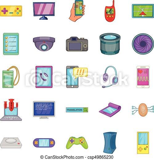 Cellular phone icons set, cartoon style - csp49865230