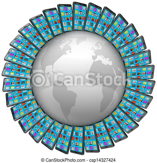 cellule, autour de, téléphones, global, connexions, mondiale, intelligent - csp14327424