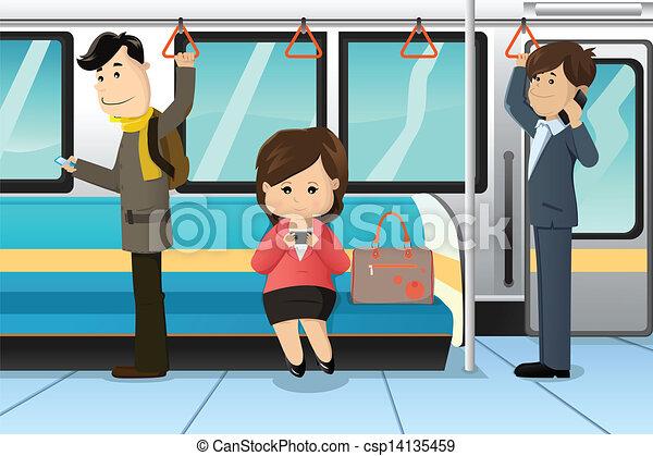 cellule téléphone, train, utilisation, peuples - csp14135459