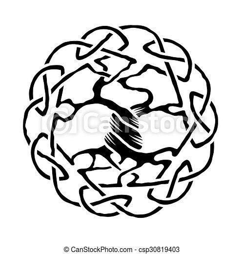 Celta árbol Vida Celta árbol Ilustración Vector Negro