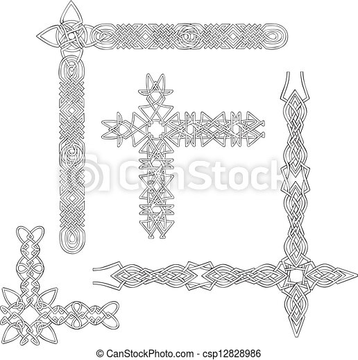 Celtic decorative knot corners - csp12828986