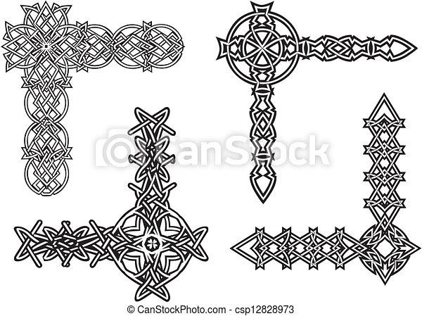 Celtic decorative knot corners - csp12828973