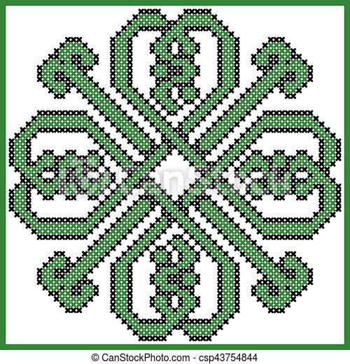 celtic endless knot in clover with hearts elements in tile shape in black and green cross