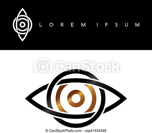 Celtic Eye Symbol Gold Black Monochromatic Abstract Concept Logo
