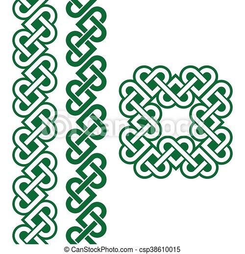 Celtic Green Irish Knots Patterns Vector Set Of Traditional Celtic Classy Irish Patterns