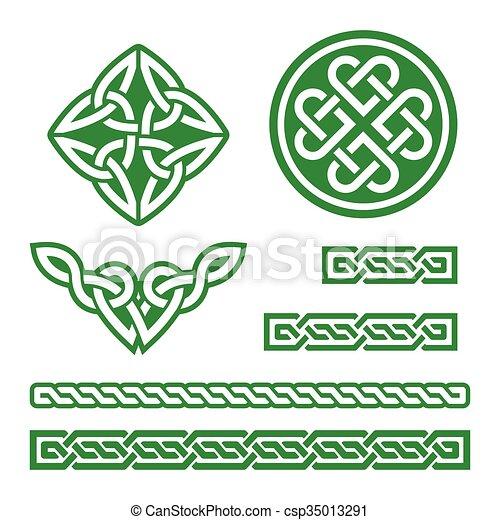 celtic green knots patterns set of traditional celtic symbols in