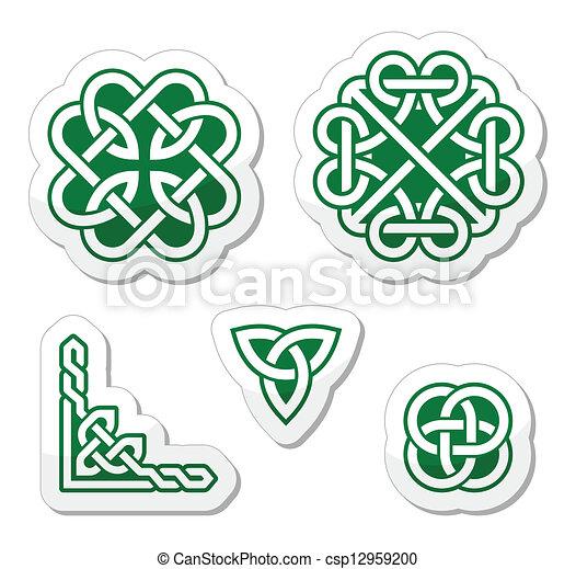 celtic green knots set od traditional celtic symbols knots braids