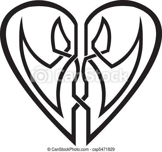 Celtic heart - vector tribal tattoo - csp5471829