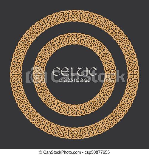 Celtic knot braided frame border circle ornament - csp50877655
