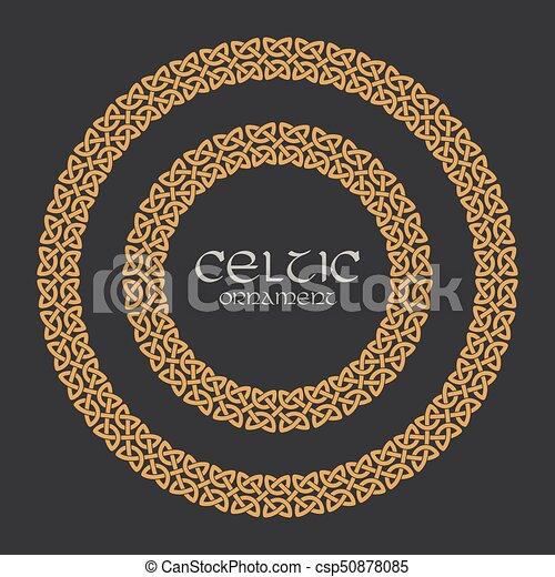 Celtic knot braided frame border circle ornament - csp50878085
