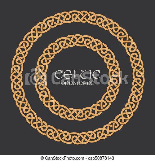 Celtic knot braided frame border circle ornament - csp50878143