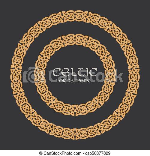 Celtic knot braided frame border circle ornament - csp50877829