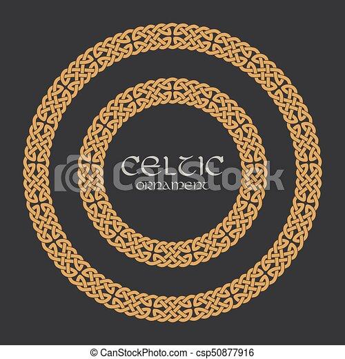 Celtic knot braided frame border circle ornament - csp50877916
