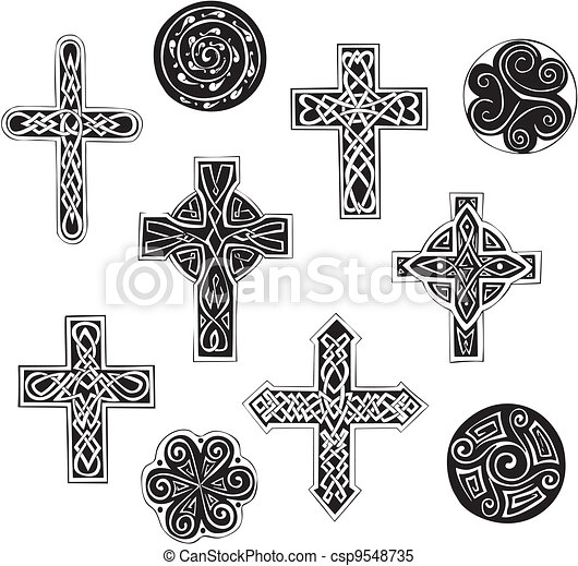 Celtic knot crosses and cpirals - csp9548735