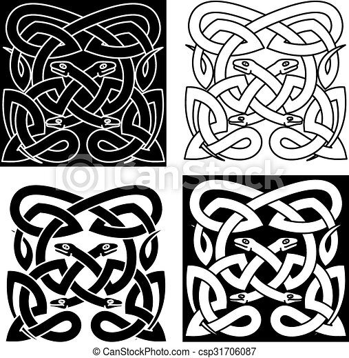 Celtic Knot Pattern Of Tribal Snakes Interlacement Medieval Celtic Inspiration Celtic Knot Patterns