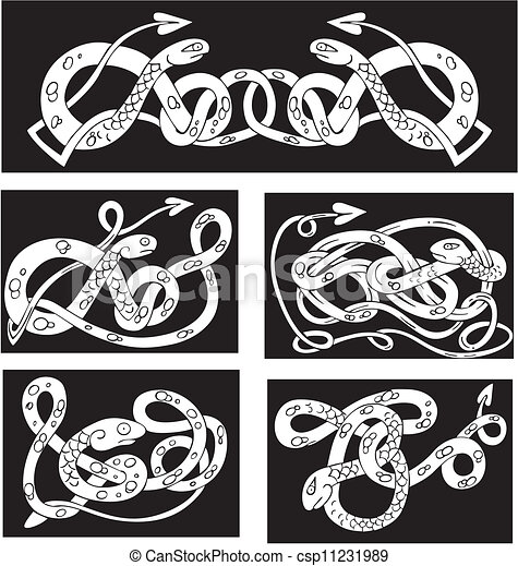 Celtic knot patterns with snakes - csp11231989