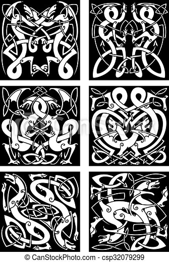 Celtic knot patterns with tribal dragons - csp32079299