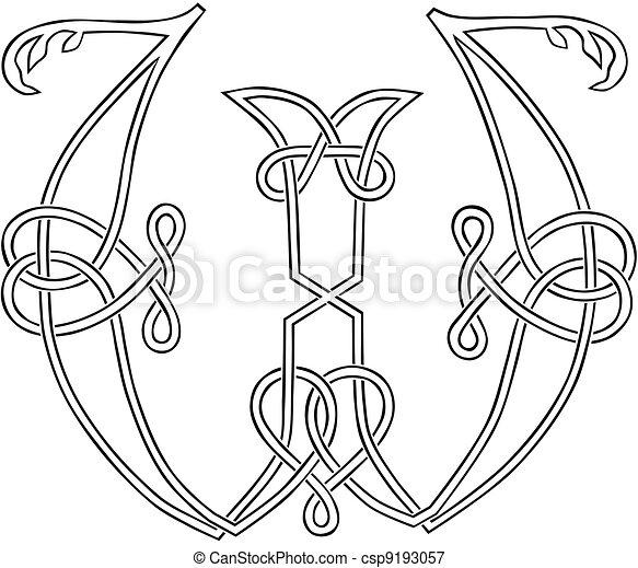 Rococo Alphabet Letter W - LADIES COLORING CLUB