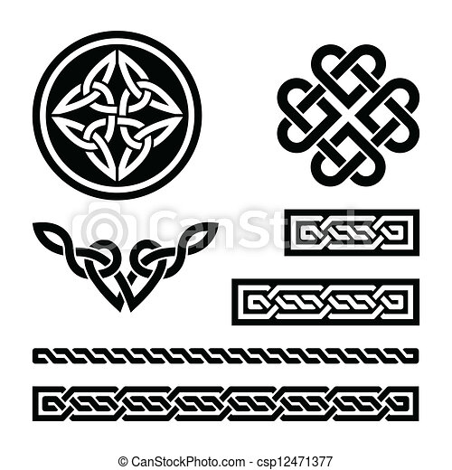 Celtic knots, braids and patterns - - csp12471377