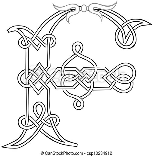 Celtic Letter F A Knot Work Capital Stylized Outline