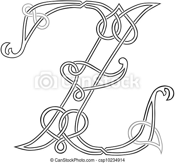 Celtic letter z a celtic knot work capital letter z stylized outline celtic letter z csp10234914 spiritdancerdesigns Image collections