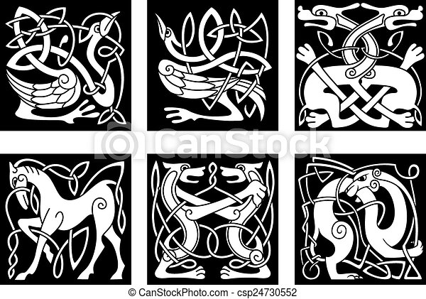 Celtic Ornaments With Animals Abstract White Animal Ornaments In