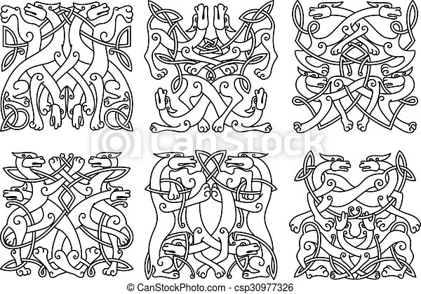 Celtic outline entwined mystical animals - csp30977326