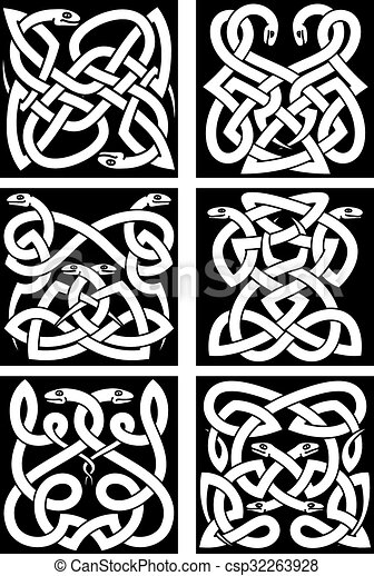 Celtic snakes knot patterns with tribal ornament - csp32263928
