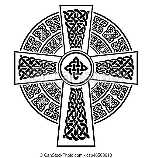 Celtic Style Cross With Eternity Knots Patterns In White And