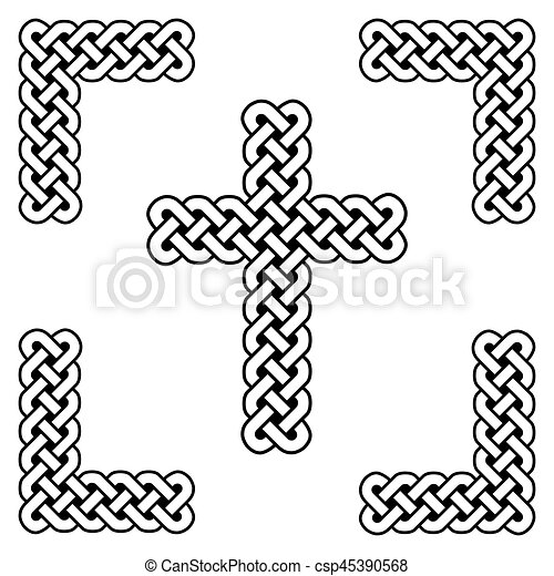 Celtic Style Endless Curved Knot Cross Symbols In White And Black In