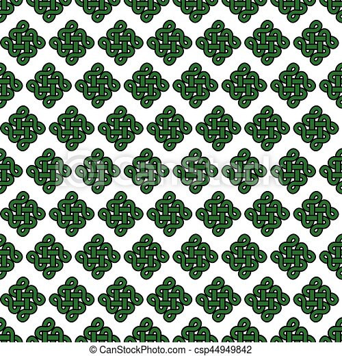 Celtic Style Endless Knot Symbol Seamless Pattern In Green With