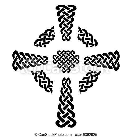 Celtic Style Knotted Cross With Eternity Knot Patterns In White And