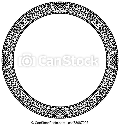 Celtic traditional ornament. Round frame with geometric ornament. - csp78087297