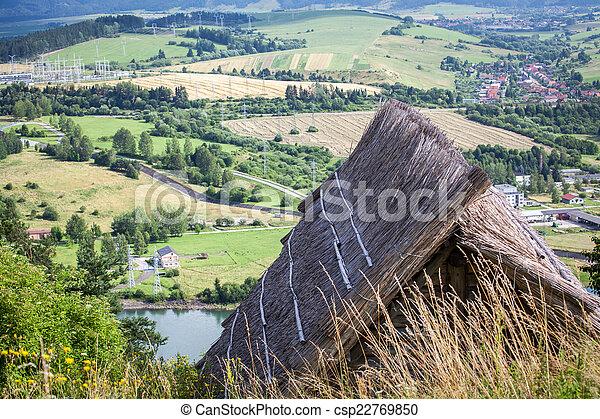 celtycki, mieszkanie, havranok, -, slovakia, stary - csp22769850