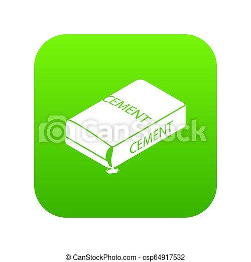 Cement bag icon green - csp64917532