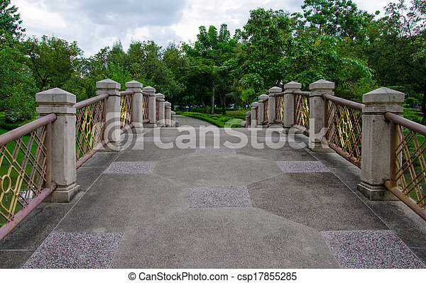 Cement bridges and walkway for exercise with trees in park - csp17855285