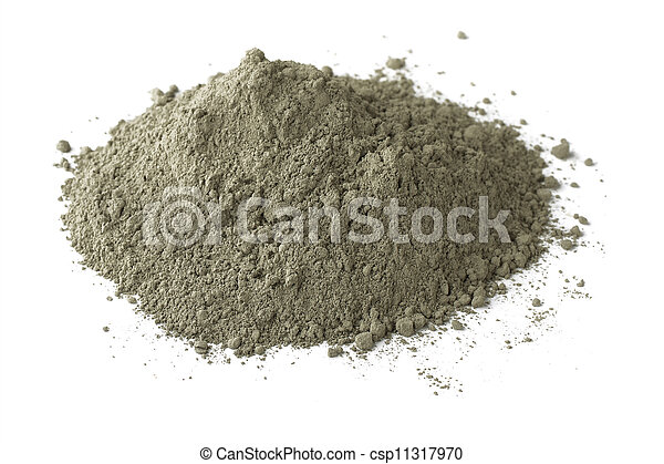 Cement Pile Of Dry Grey Portland Cement Isolated On White