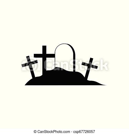 cementerio, halloween, ilustración, vector - csp67726057