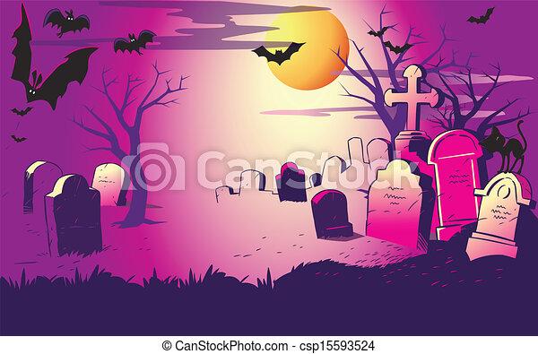 cemeter., halloween natt - csp15593524