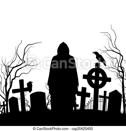 silhouette of the cemetery on the white background clipart vector rh canstockphoto com halloween graveyard clipart halloween graveyard clipart