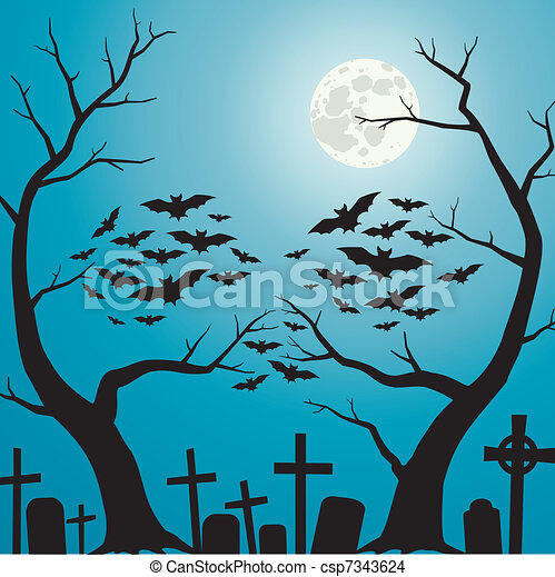 cemetery a person who is formed from branches of the trees and bats