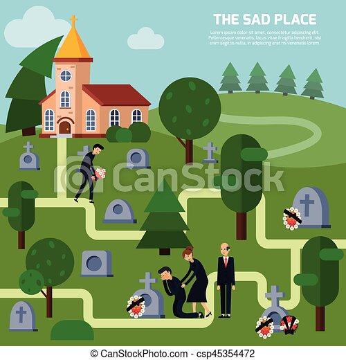 Cemetery Flat Style Illustration - csp45354472