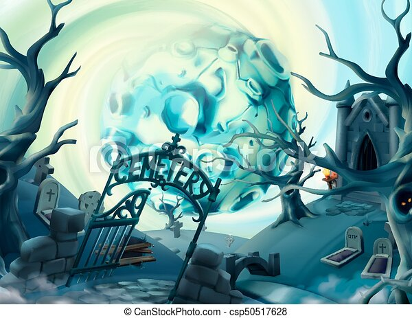 Line Drawing Vector Graphics : Cemetery halloween background. cartoon landscape 3d vector
