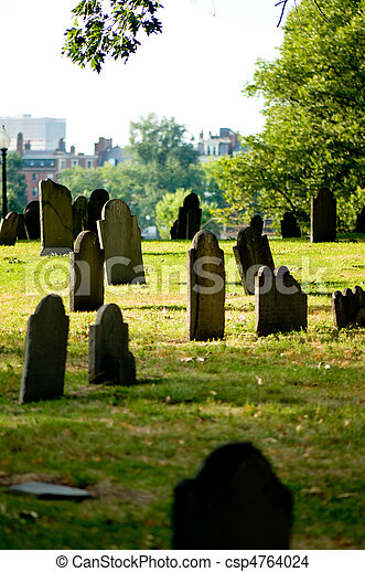 Cemetery with many tombstones on the bright day - csp4764024