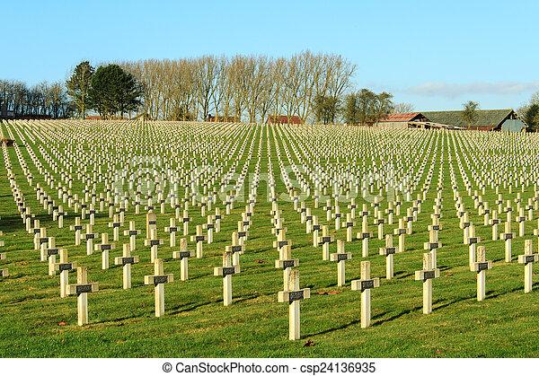 Cemetery world war one in France Vimy La Targette - csp24136935