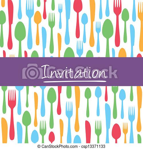 Tarjeta De Invitación Para La Cena Con Cubiertos Tarjeta De