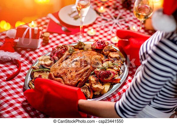cena, donna, preparare, natale - csp23441550