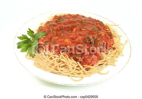 cena, espaguetis - csp0429500