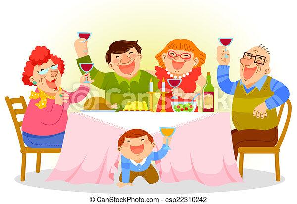 cena, famiglia - csp22310242