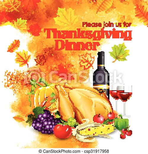 cena, felice, ringraziamento, celebrazione - csp31917958